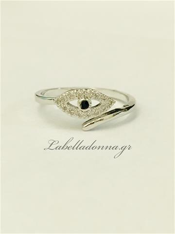 δαχτυλίδι ασημί με ματάκι
